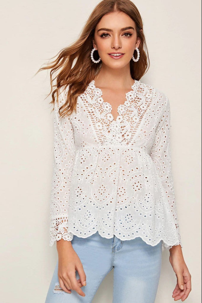 Fashion Neck And Cuff Lace Plain Full Sleeve Shirt