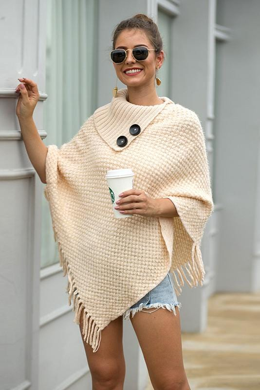 Button Design Shawl Cloak Knit Top
