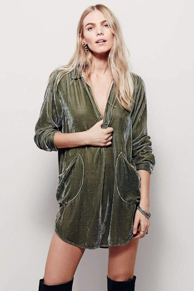 Velvet Long Sleeve Pocket Casual Mini Shirt Dress 3 Colors
