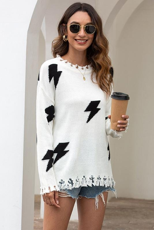 Lightning Design Long Sleeve Sweater