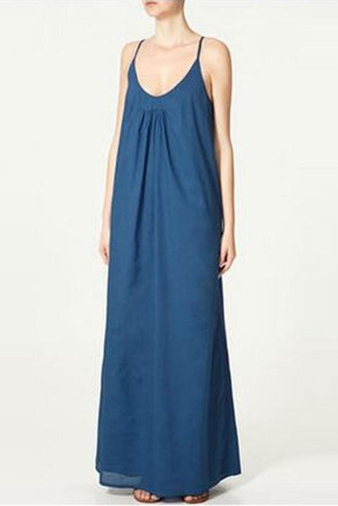 V-Neck Sleeveless Sexy Plain Maxi Dress