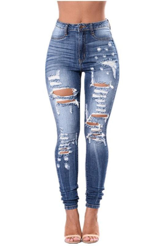 Fashion Boyfriend Denim High Waist Shredded Rips Jeans