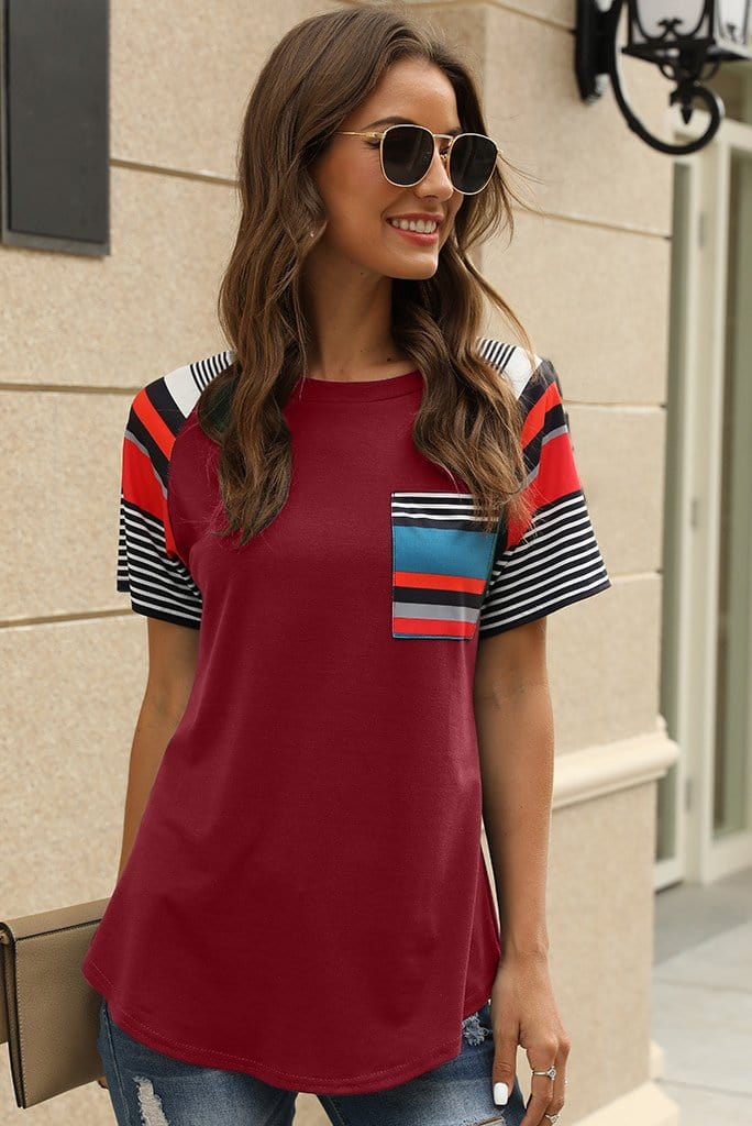 Stripe Design Short Sleeves Casual Top 3 Colors