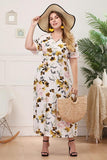 V-Neck Floral Print Long Dress Plus Size