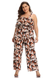 Off-Shoulder Leaves Print Plus Size Jumpsuit