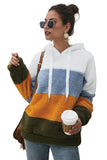 Color Block Drawstring Long Sleeves Hoodie