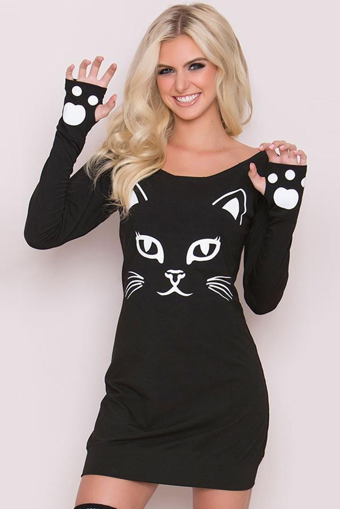 Halloween Skull Cat Printed Sexy Round Neck Long Sleeve Dress 2 Colors