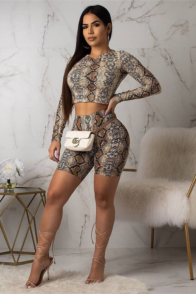 Skinny Rompers Print Sexy Long Sleeve Two-Pieces Set
