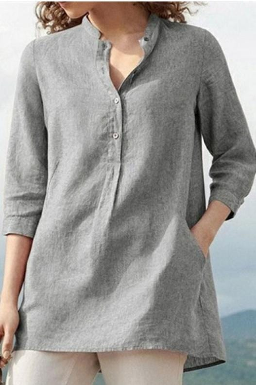 Plus Size Plain Casual Blouse