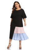 Color Block Casual Maxi Dress Plus Size