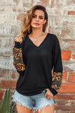 Black V-Neck Leopard Print Long Sleeve Tee
