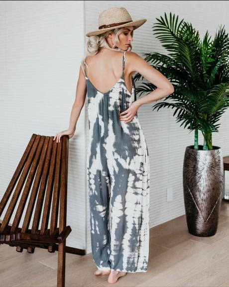 Hanging Bandwidth Loose Printed Jumpsuit Plus Size