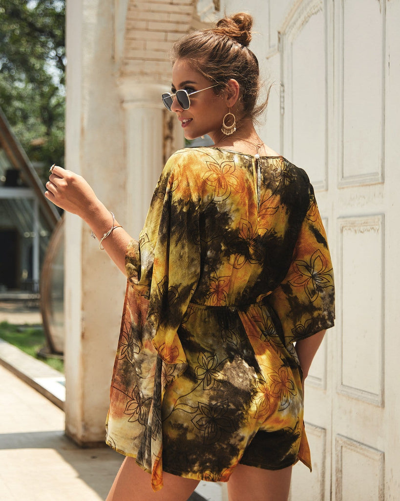 Fashion Printed Short Jumpsuit