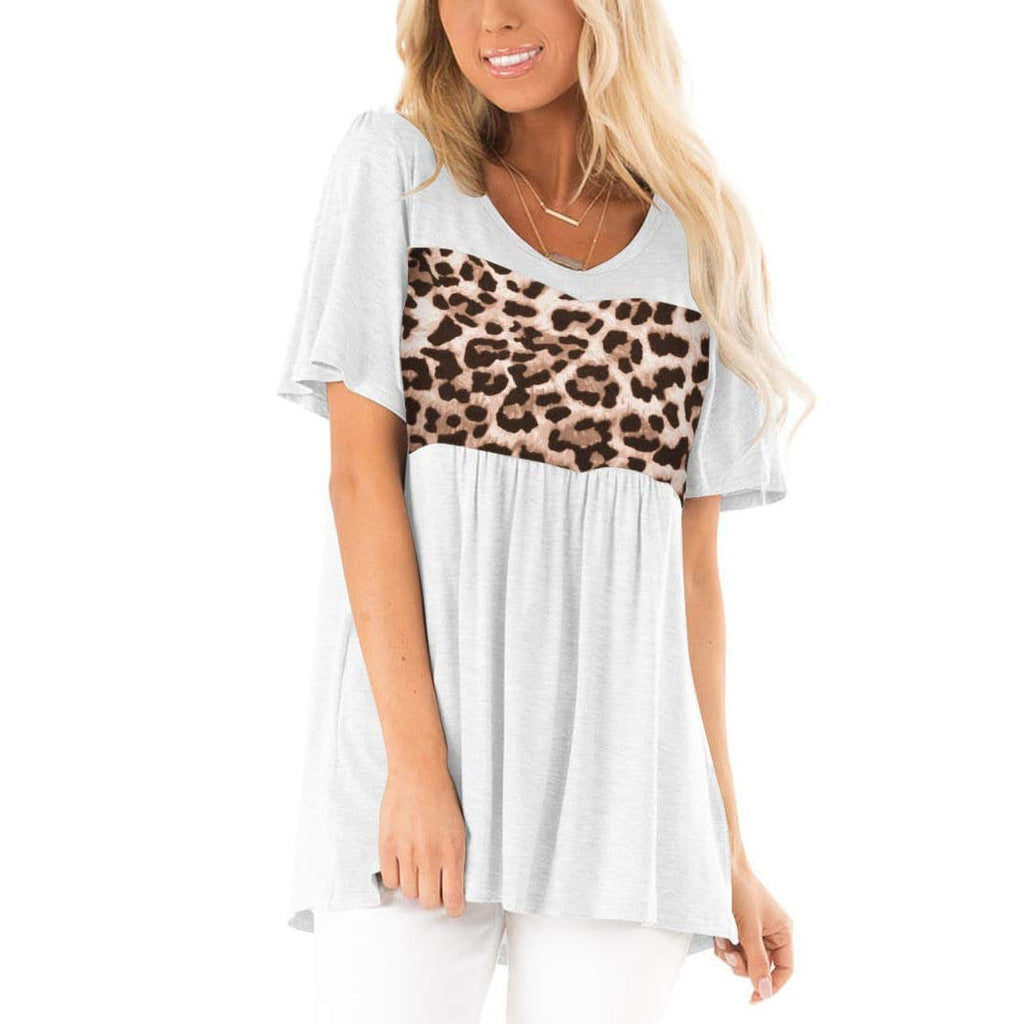 Summer Casual Solid Color Patchwork Tops Leopard Print Pleated Blouse