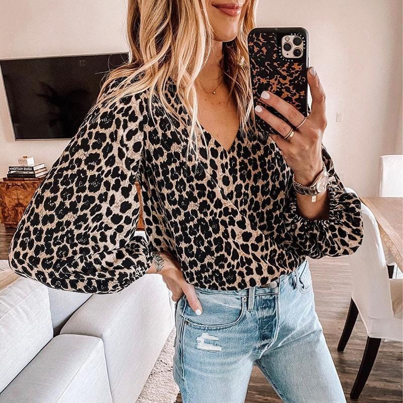 V Neck Leopard Print Summer Half Sleeve Women Blouse