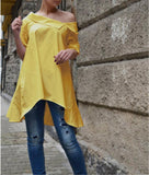 Trendy Women Asymmetric Shoulder Knot Plain Blouse