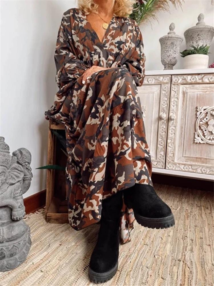 Fashion Plus Size Camouflage Long Sleeve V Neck Maxi Dress