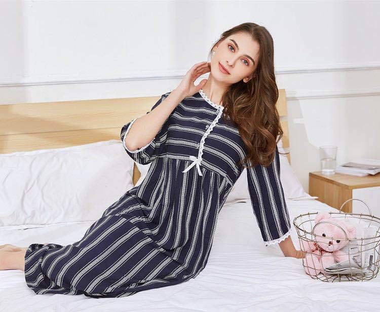 Fashion Homewear Stripe Long Nightgown Printed Cotton Robe Plus Size