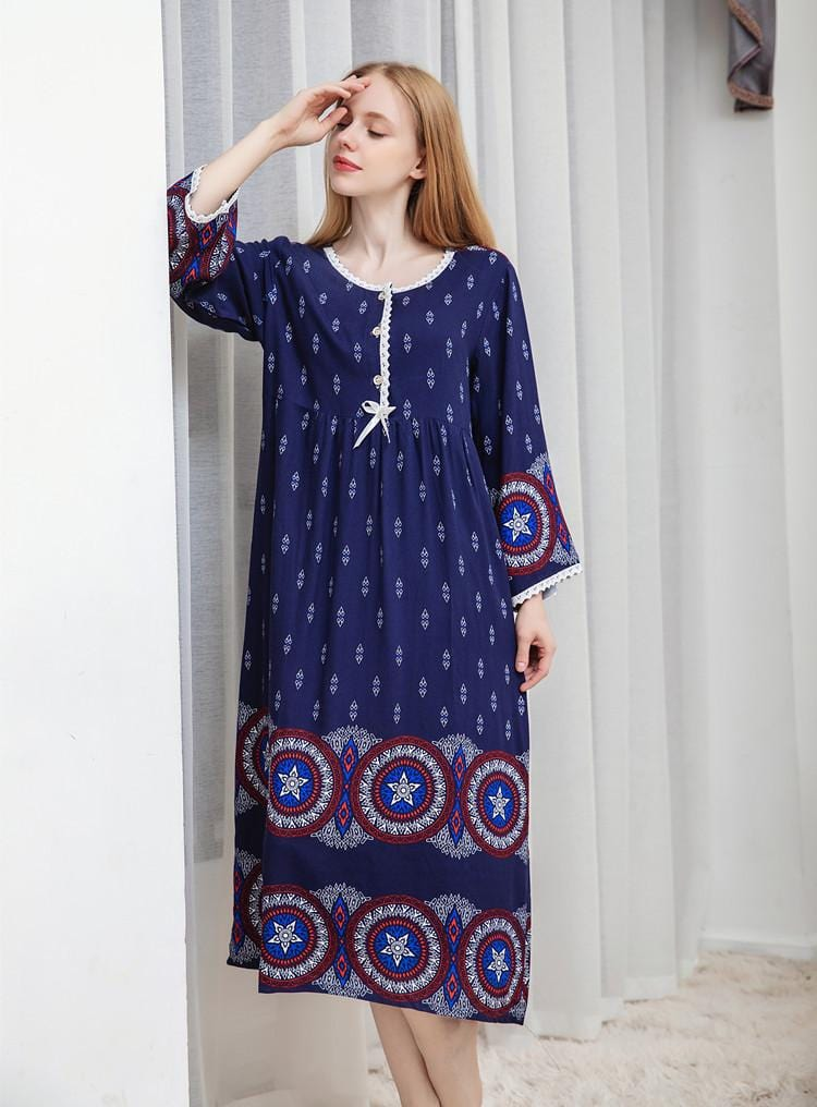 High Quality Women Nightgown Printed Cotton Maxi Dress