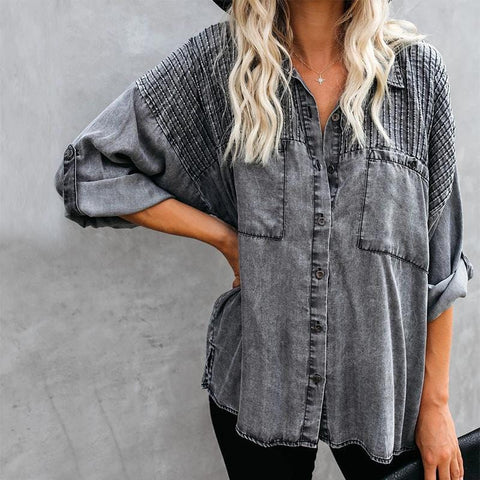 Long Sleeve Vintage Washed Slit Pockets Button Down Loose Casual Shirts