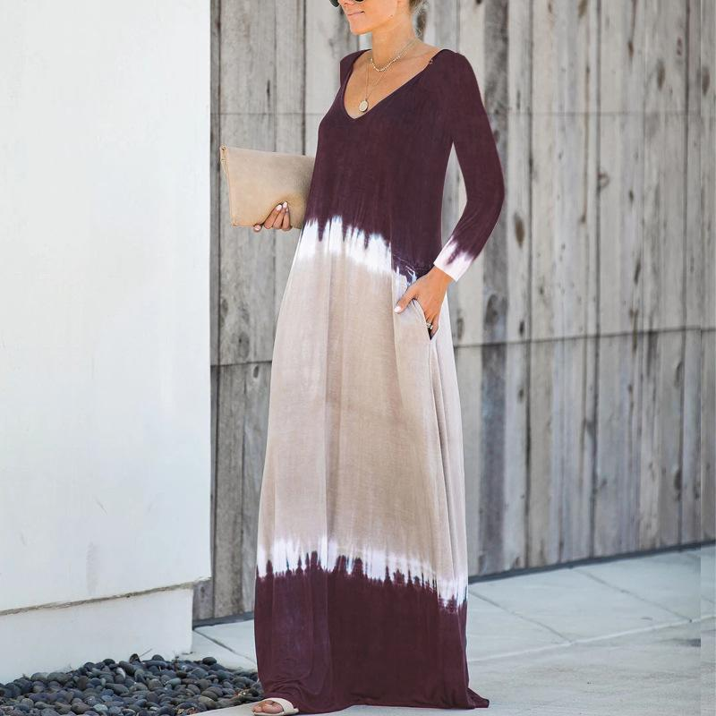 Sexy V-Neck Tie Dye Fashion Maxi Dress