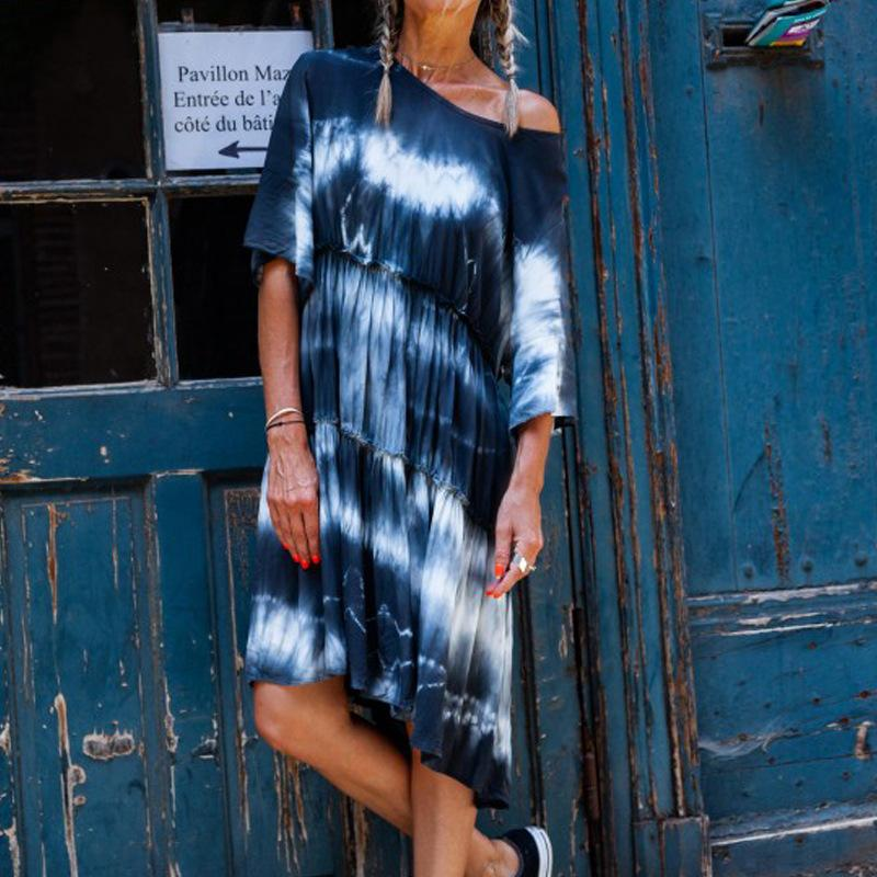 Fashion Tie Dye Mid-Length Casual Loose Dress Plus Size