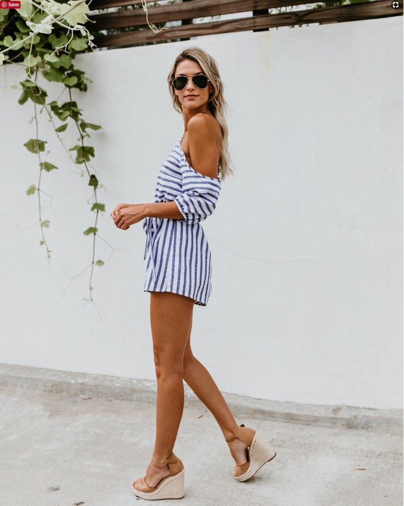 Fashion Women Irregular Sleeve Stripe Print Short Jumpsuit