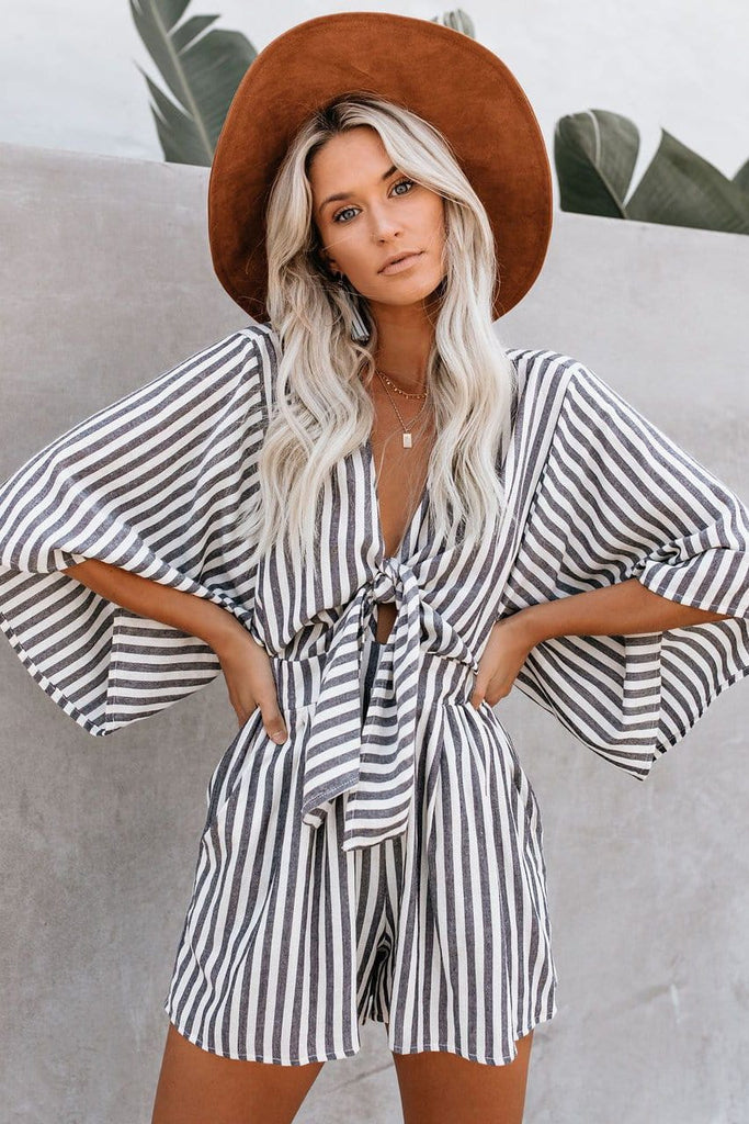 Fashion Women Mid-Length Sleeve Stripe Print Short Jumpsuit