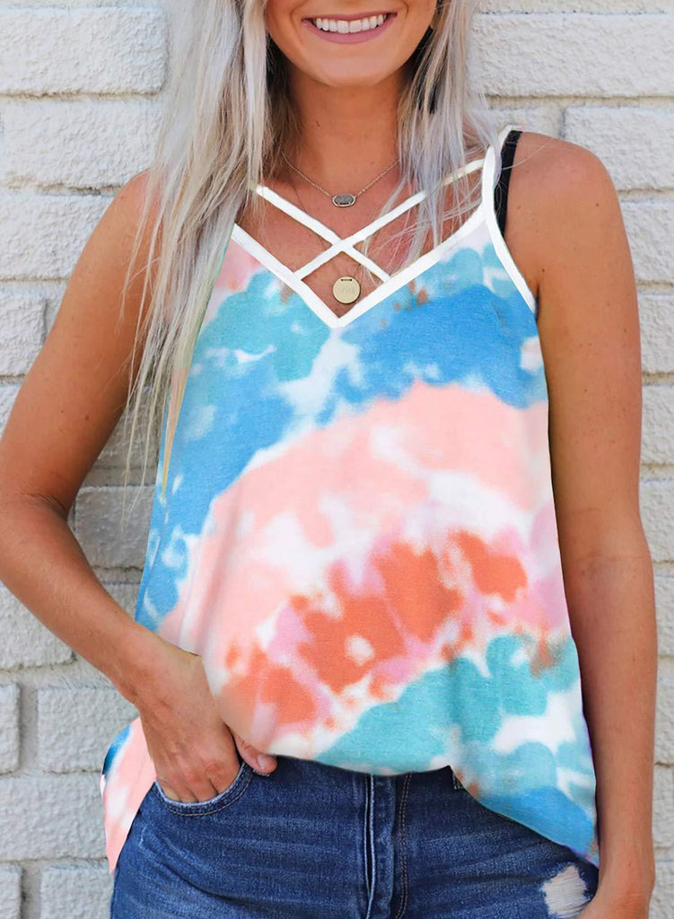 Latest Fashion Tie Dye Sleeveless Casual Tops