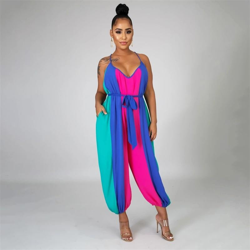 Fashion Casual V-Neck Stripe Print Sling Jumpsuit