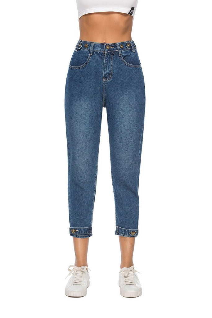 High-Waisted Plain Cropped Jeans