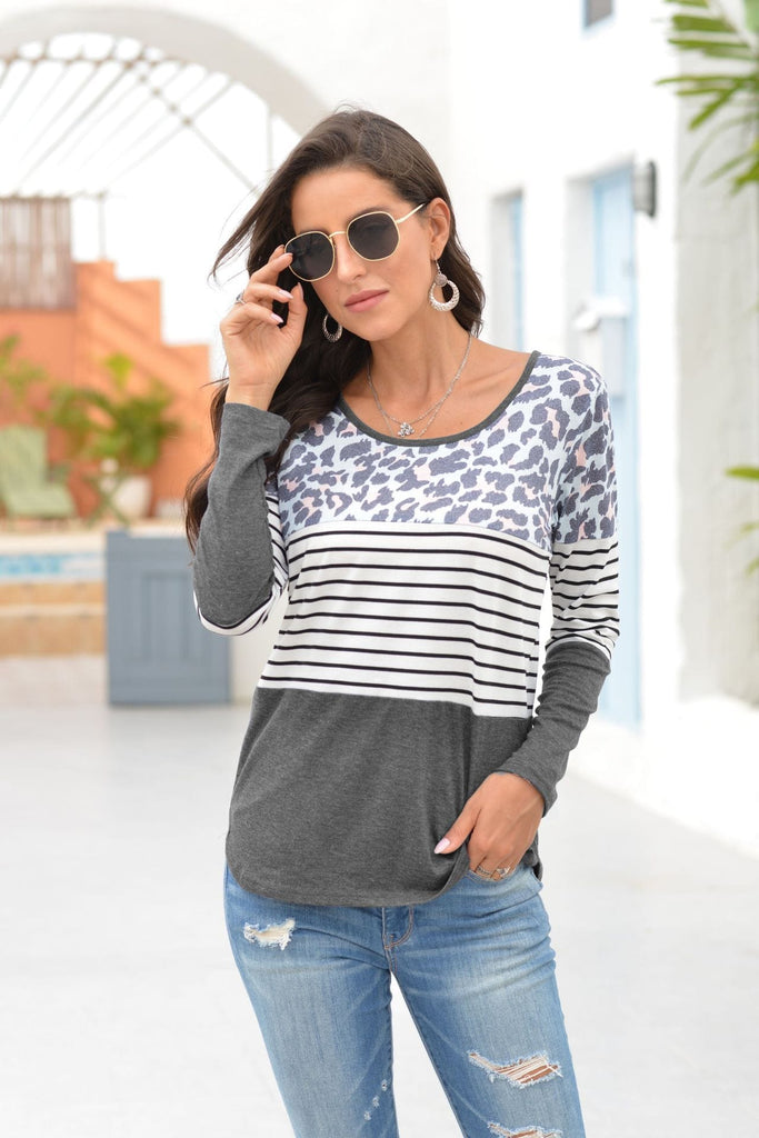 Leopard/Stripe Details Long Sleeve T-Shirt 4 Colors