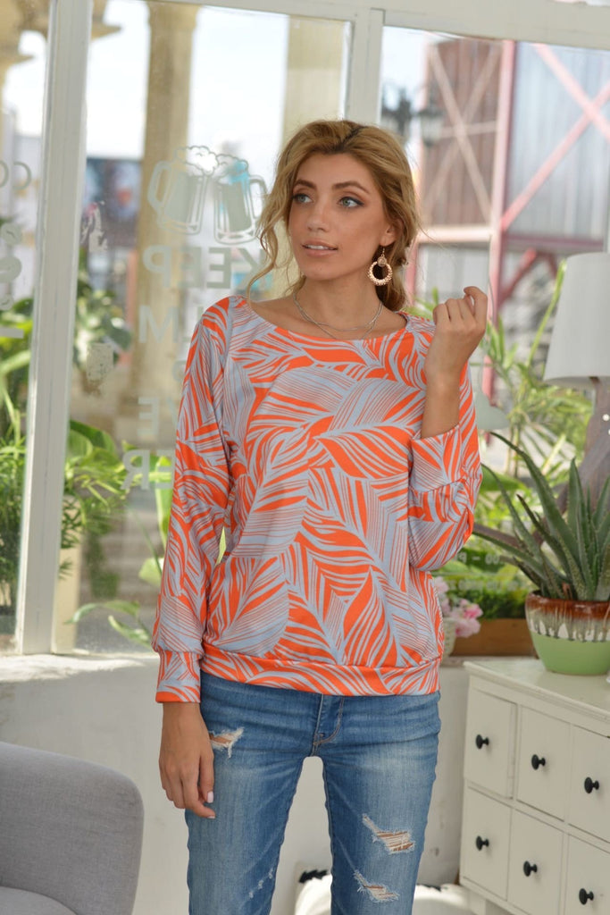 Plus Size Leaves Print Long Sleeve Casual Tee 4 Colors