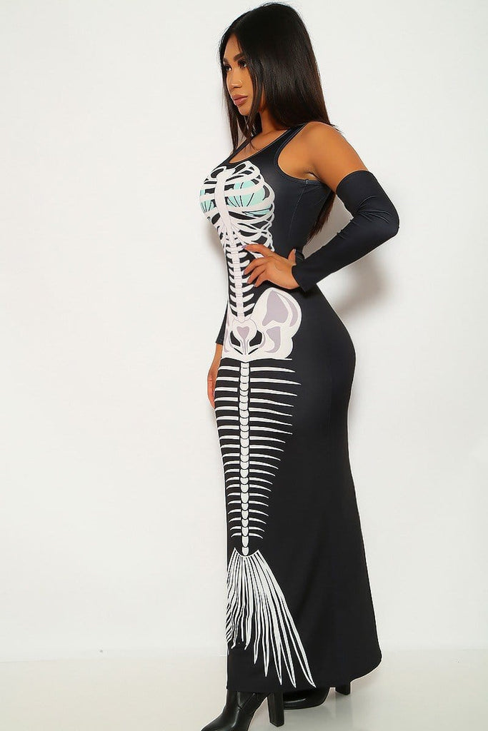 Halloween Skeleton Printed Sexy Round Neck Dress