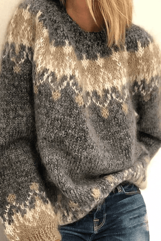 Loose knitted Contrast Sweater ( 3 Colors )