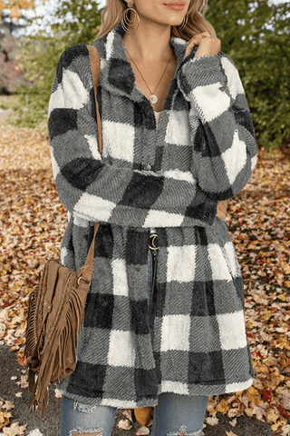 FLEECE CONTRAST PLAID LONG COAT