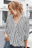 V Neck Women Shirts Stripe Print Casual Ladies Blouse