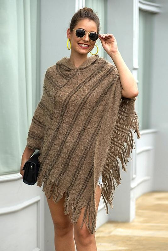 Stripe Design Shawl Cloak Knit Top 4 Colors