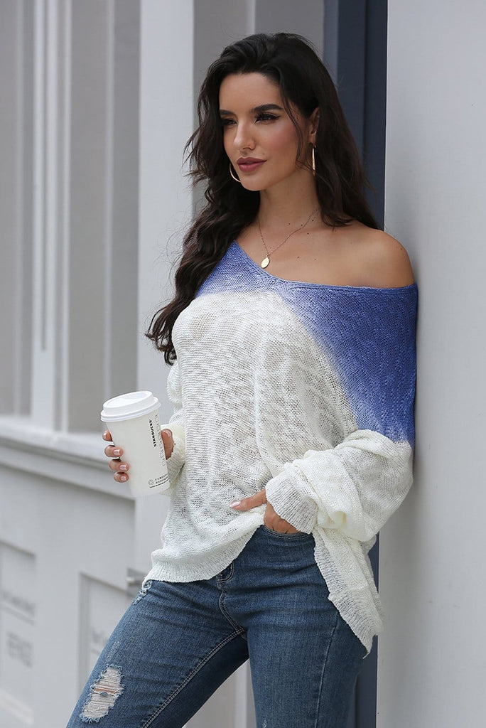 Gradient Design One Shoulder Long Sleeve Sweater 4 Colors