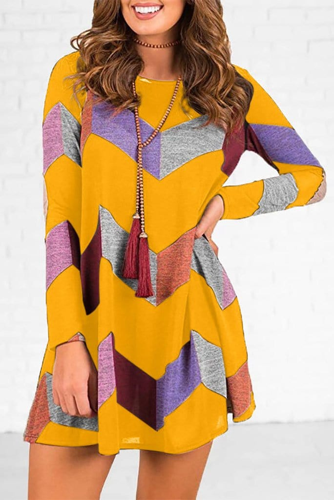 Diamond Design Long Sleeve Dress 3 Colors
