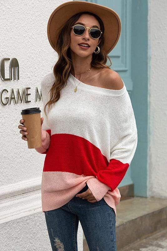 One Shoulder Stripe Casual Sweater 4 Colors