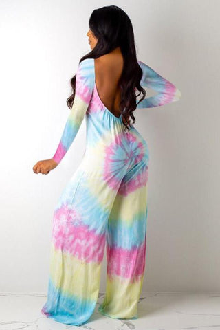 Fashion Full Length V-Neck Loose Tie-Dye Jumpsuit