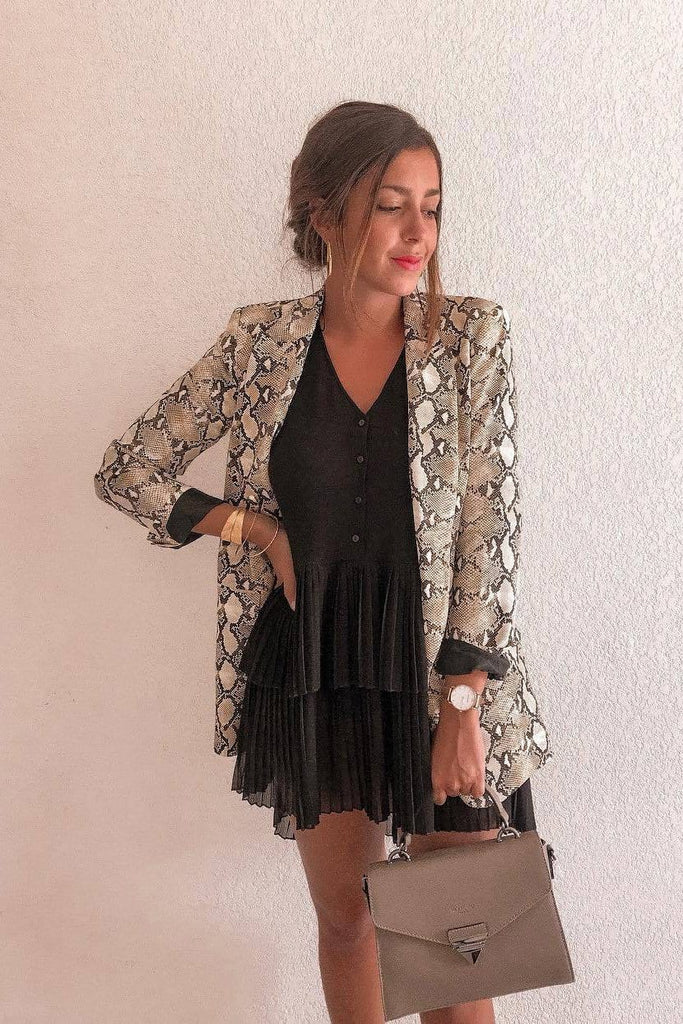 New Snake Print Long Sleeve Blazer
