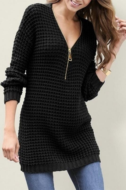 Zip Front Hooded Design Long Sleeves Sweater
