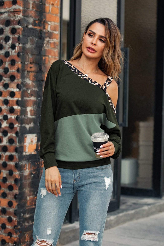 One Shoulder Color Block Casual Tee