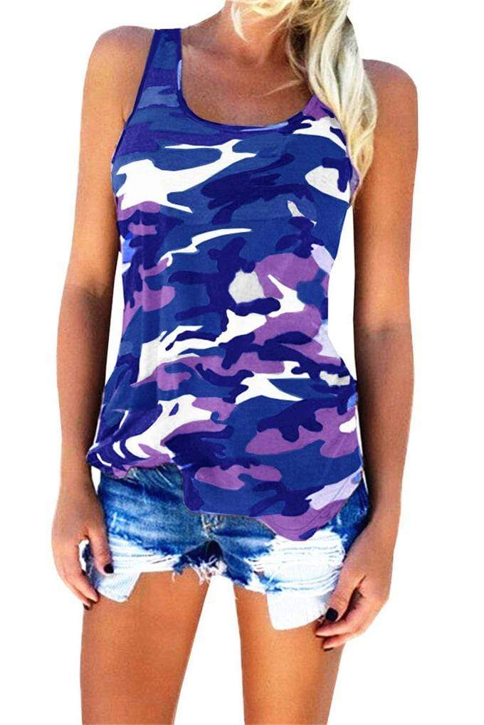 Plus Size Camo Sleeveless Casual Top 5 Colors