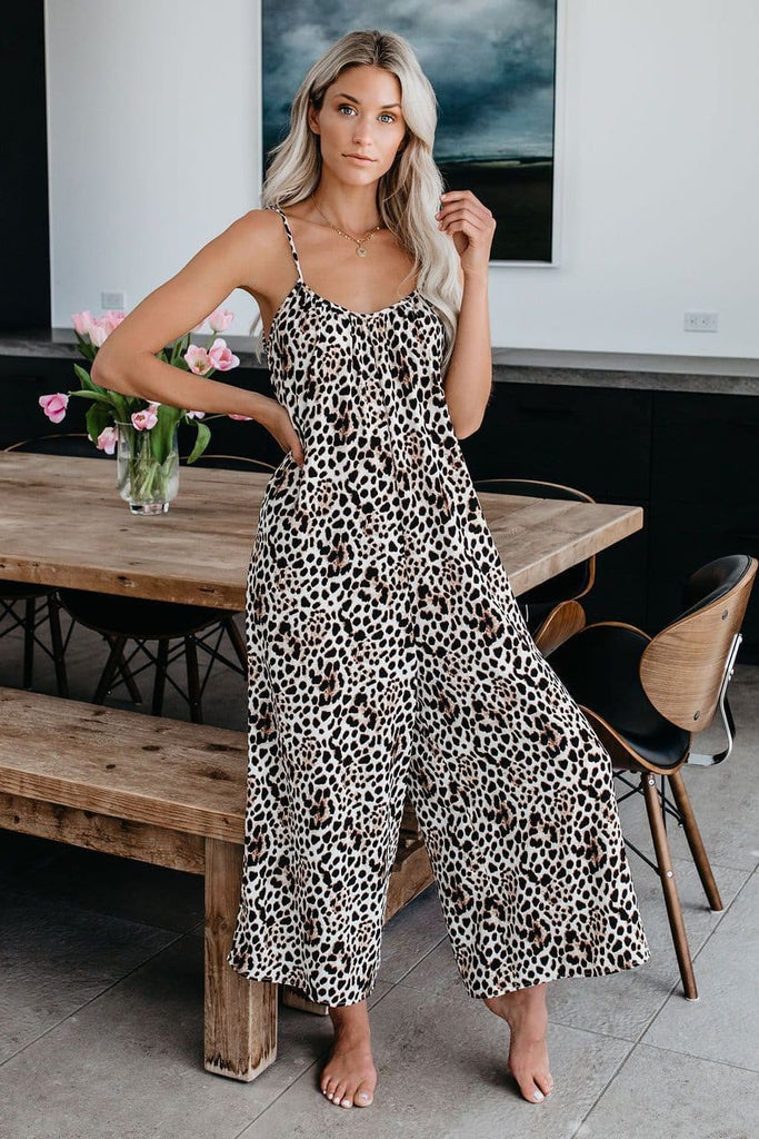 Sexy Leopard Print Sleeveless Casual Maxi Jumpsuit
