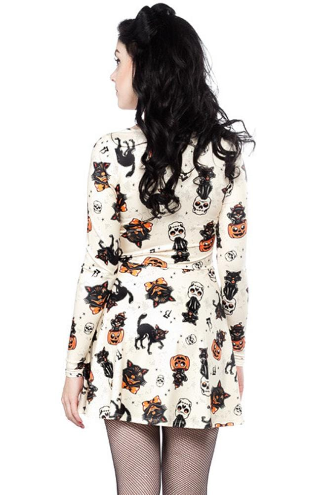 Vampire Sexy Halloween Print Long Sleeve Dress