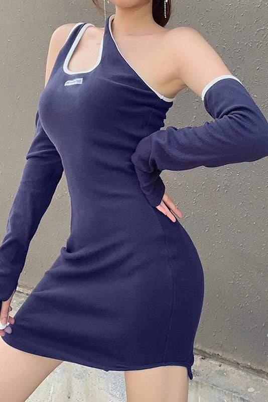 Navy Off-Shoulder Sexy Midi Dress