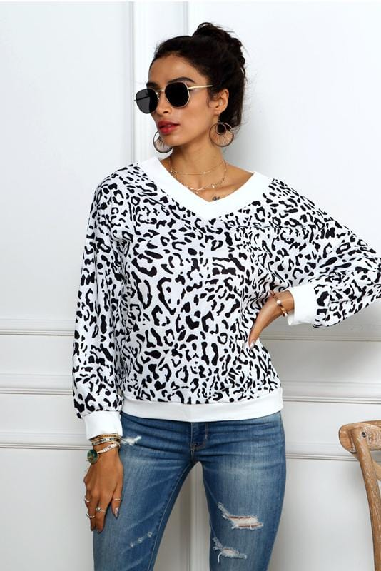 V-Neck Leopard Print Long Sleeve Casual Sweatshirt
